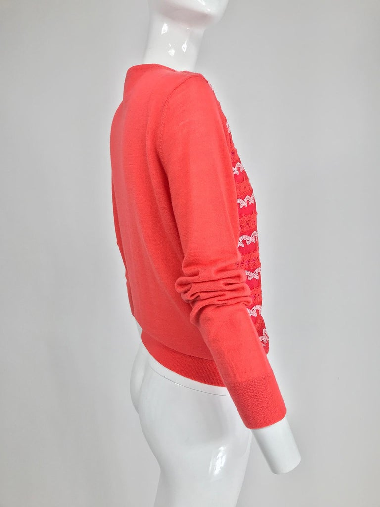 Red Marc Jacobs Orange Knit Collage Cardigan Sweater M For Sale