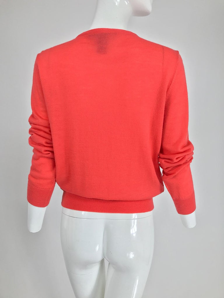 Marc Jacobs Orange Knit Collage Cardigan Sweater M In Excellent Condition For Sale In West Palm Beach, FL