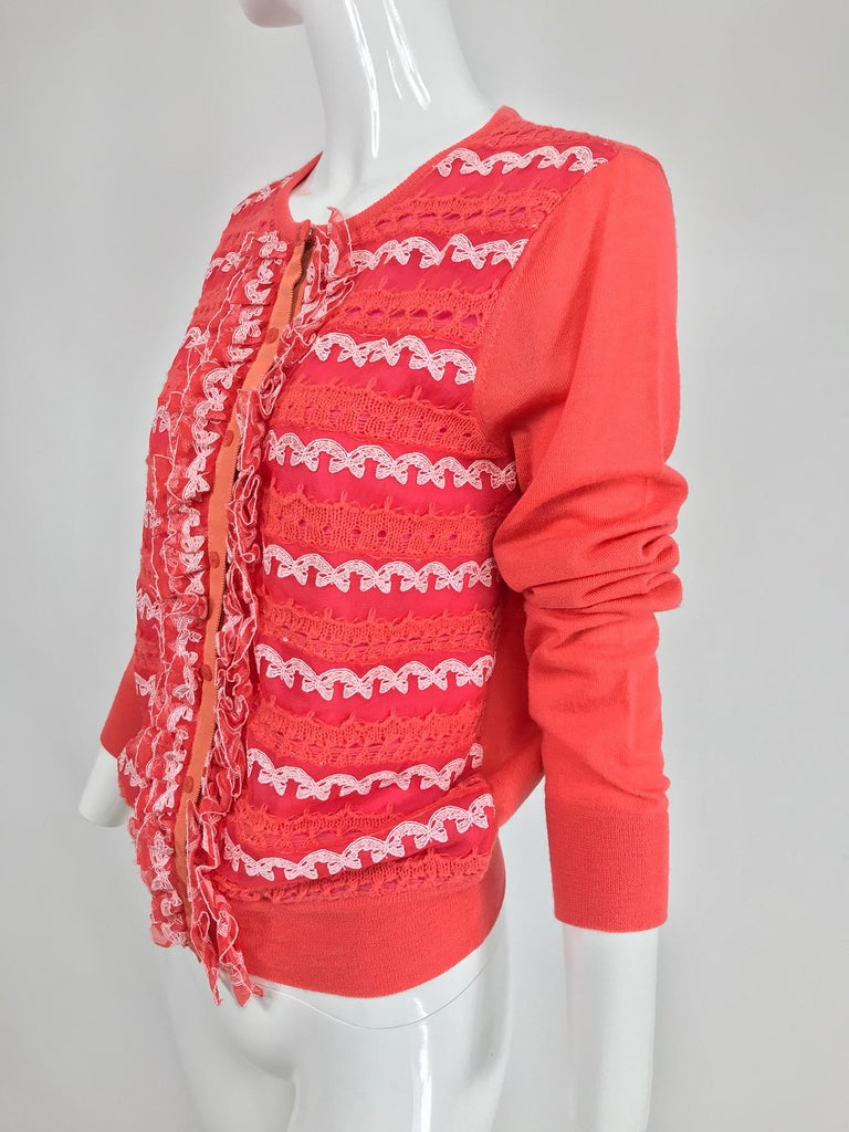 Women's Marc Jacobs Orange Knit Collage Cardigan Sweater M For Sale