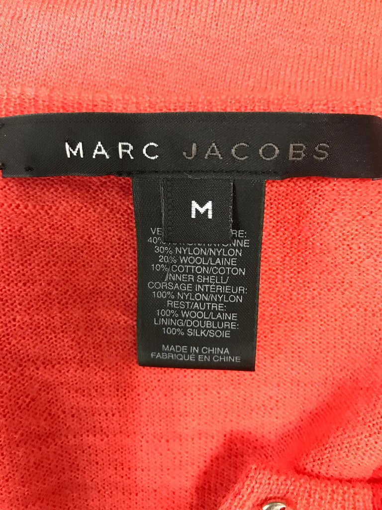 Marc Jacobs Orange Knit Collage Cardigan Sweater M For Sale 4