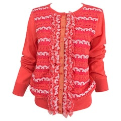 Marc Jacobs Orange Knit Collage Cardigan Sweater M