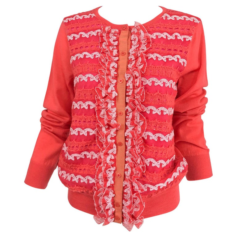 Marc Jacobs Orange Knit Collage Cardigan Sweater M For Sale