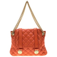 Marc Jacobs Orange Quilted Leather Mary Shoulder Bag