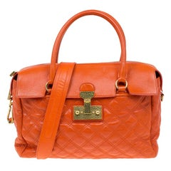 Marc Jacobs Orange Quilted Leather Rudi Satchel
