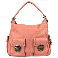 MARC JACOBS Pink Contrast Stitch Leather Top Handles Handbag