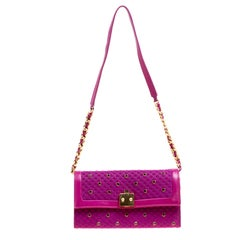 Marc Jacobs Pink Fabric and Leather Studded Organizer Chain Clutch
