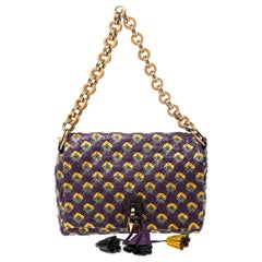 Marc Jacobs Purple Printed Leather Misfit Flap Shoulder Bag