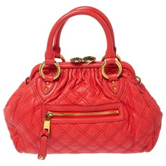 Marc Jacobs Red Quilted Leather Stam Shoulder Bag