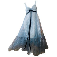 Marc Jacobs Runway Collection Silvery Sheer Silk Dress with Voluminous Flounce