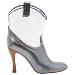 Marc Jacobs Silver Patent Leather and Clear Cowboy Booties