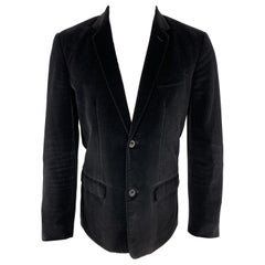 MARC JACOBS Size 36 Black Cotton Velvet Notch Lapel Sport Coat