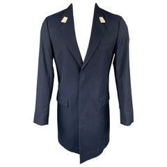 MARC JACOBS Size 36 Navy Wool / Cotton Notch Lapel Coat