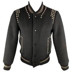 MARC JACOBS Size 38 Black Studded Wool Bomber Jacket
