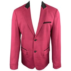 MARC JACOBS Size 38 Pink Heather Stretch Wool Contrast Collar Sport Coat