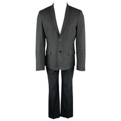 MARC JACOBS Size 38 Solid Black Wool Blend Woven Notch Lapel Suit