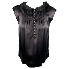 MARC JACOBS Size 6 Black Satin Silk Sleeveless Dress Top