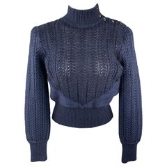 MARC JACOBS Size L Navy Cashmere Blend High Neck Cropped Sweater