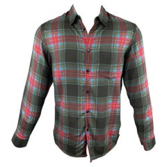 MARC JACOBS Size M Black & Red Plaid Viscose Button Up Long Sleeve Shirt