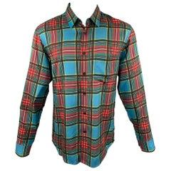 MARC JACOBS Size S Multi-Color Plaid Viscose Button Up Long Sleeve Shirt