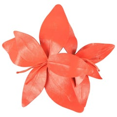 MARC JACOBS Spring 2011 Coral Pink Leather Lilies Pin