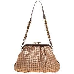 Marc Jacobs Taupe/Rose Gold Printed Leather Crystal Embellished Shoulder Bag