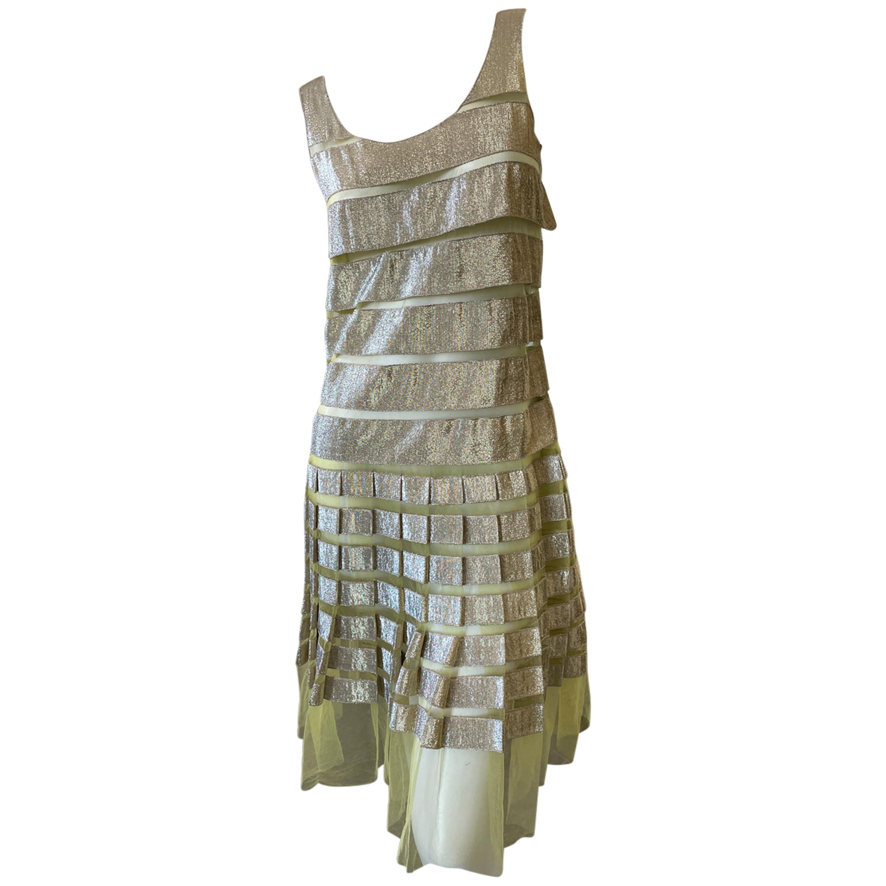 Marc Jacobs Tiered Shimmery Gold Flapper Dress