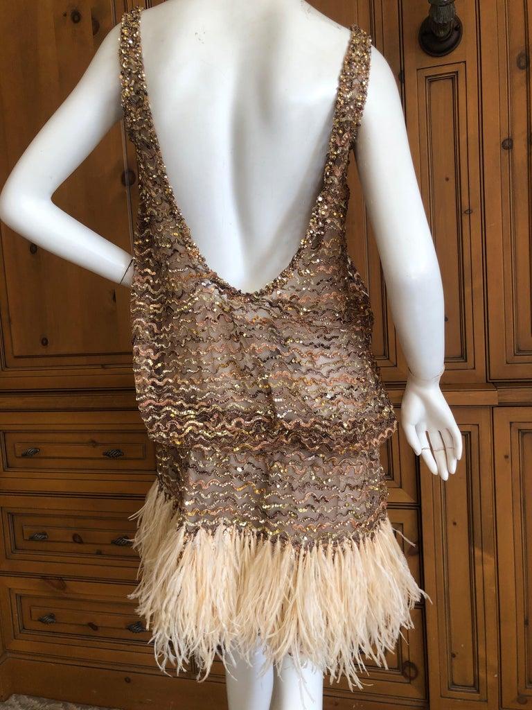 Beige Marc Jacobs Vintage Sheer Embellished Flapper Style Evening Dress w Feather Trim