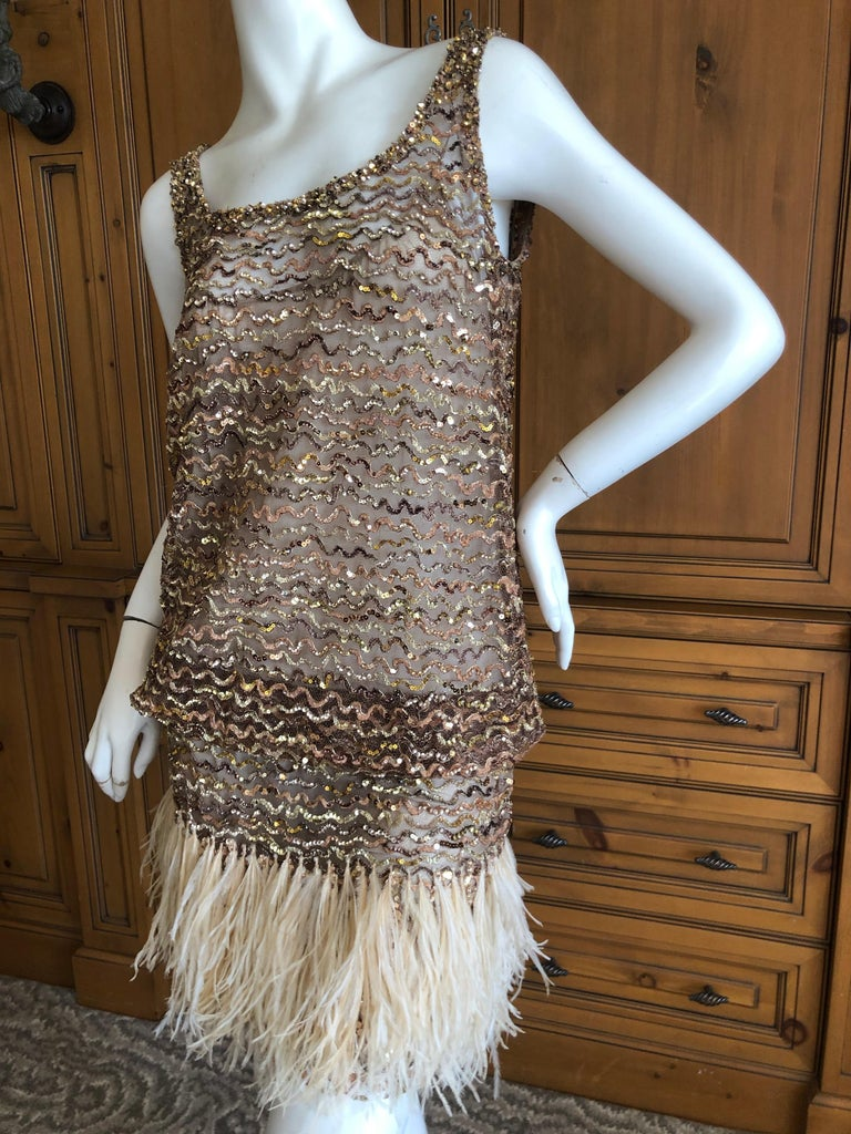 Marc Jacobs Vintage Sheer Embellished Flapper Style Evening Dress w Feather Trim In Excellent Condition For Sale In San Francisco, CA