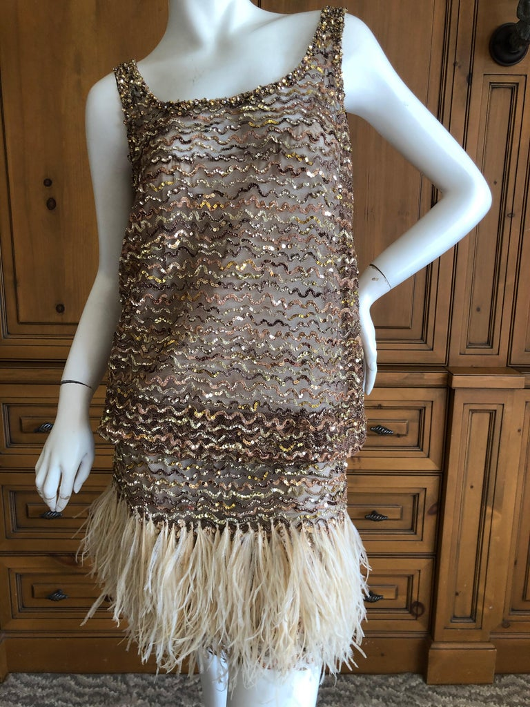 Marc Jacobs Vintage Sheer Embellished Flapper Style Evening Dress w Feather Trim For Sale 1