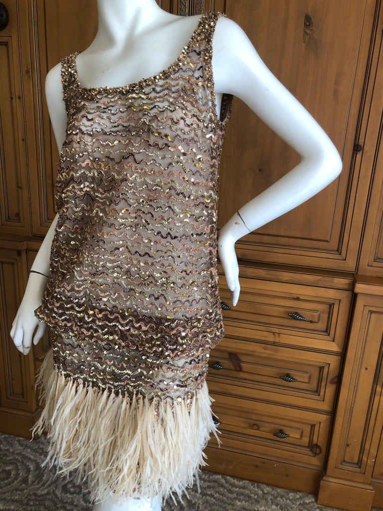 Marc Jacobs Vintage Sheer Embellished Flapper Style Evening Dress w Feather Trim For Sale 2