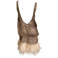 Marc Jacobs Vintage Sheer Embellished Flapper Style Evening Dress w Feather Trim