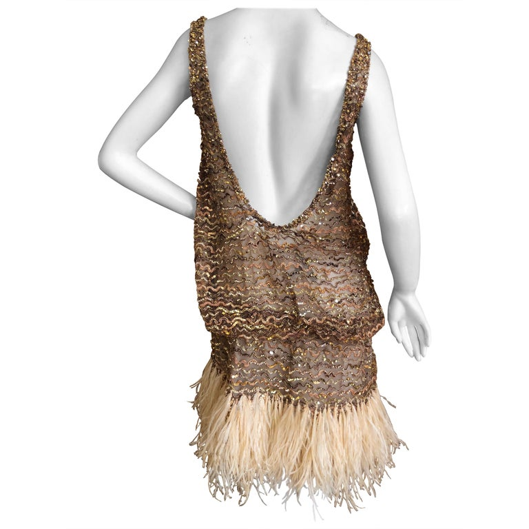 Marc Jacobs Vintage Sheer Embellished Flapper Style Evening Dress w Feather Trim For Sale