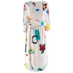 Marc Jacobs White Collage Print Silk Dress - Size US 6