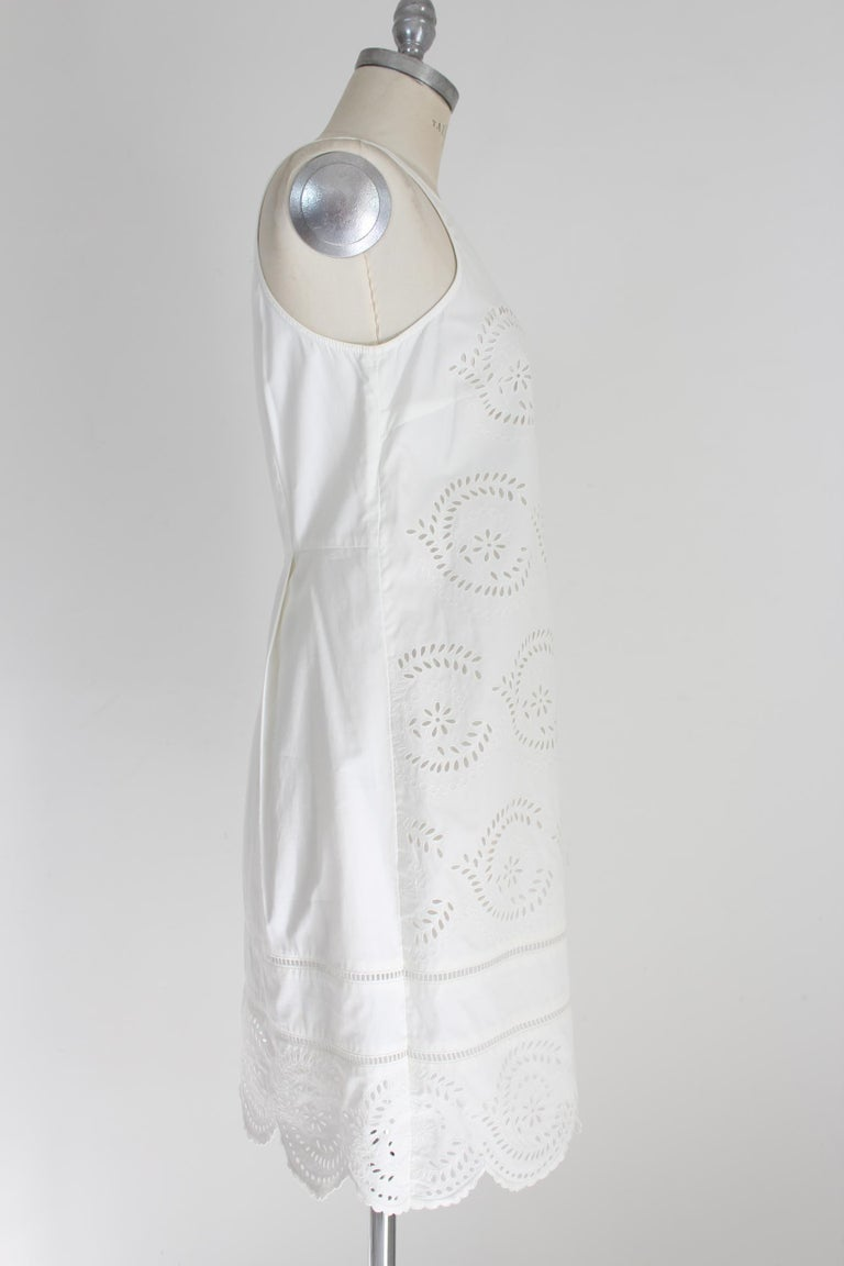 Gray Marc Jacobs White Cotton Lace Floral Marshmallow A Line Summer Dress  For Sale