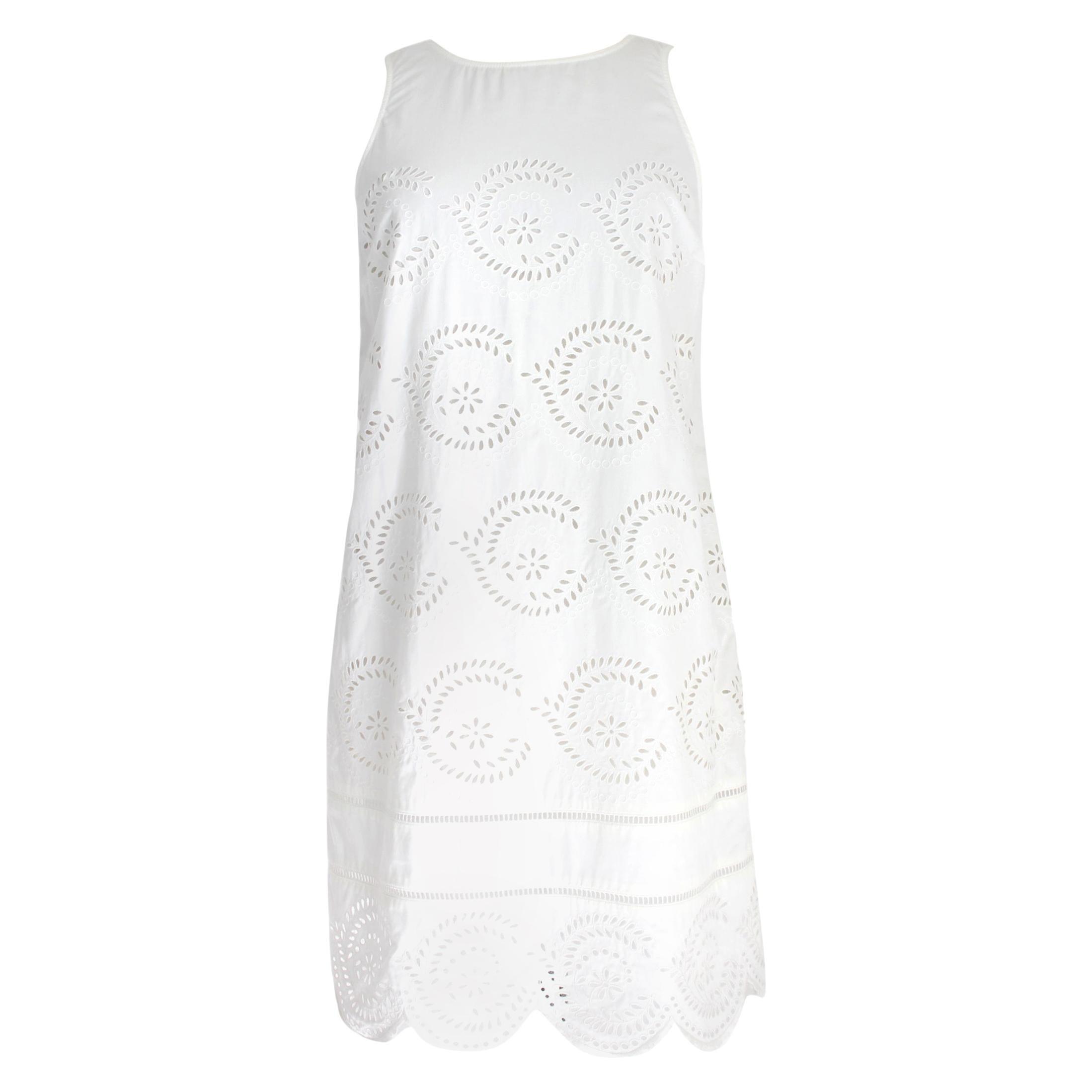 Marc Jacobs White Cotton Lace Floral Marshmallow A Line Summer Dress