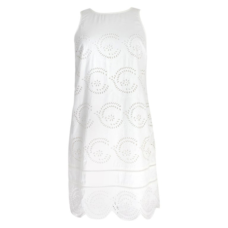 Marc Jacobs White Cotton Lace Floral Marshmallow A Line Summer Dress  For Sale