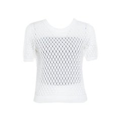 Marc Jacobs White Perforated Fish Scale Pattern Knit Crop Top S