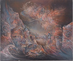 Surrealist Landscape - Original Oil on Canvas, Handsigned