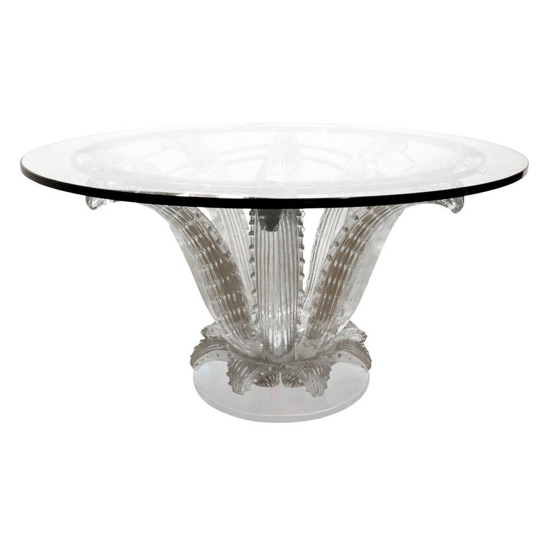 "Marc Lalique ""Cactus Table"" in Clear Crystal 1985 (signed) For Sale"