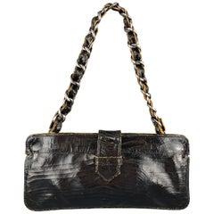 MARC MARMEL Distressed Black Coated Leather Shain Strap Handbag