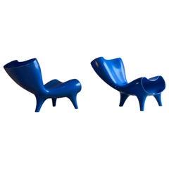 Marc Newson Electric Blue Orgone Chair, circa 1993