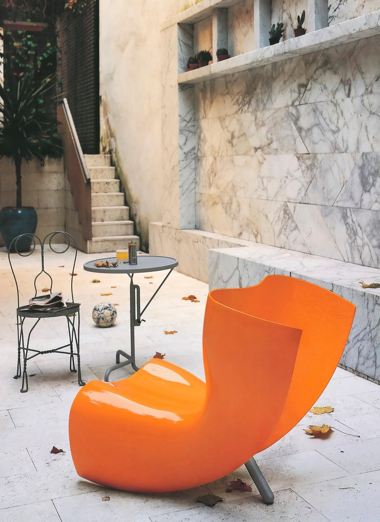 Modern Marc Newson Felt Armchair in Fiberglass Shell with Glossy Finish for Cappellini For Sale