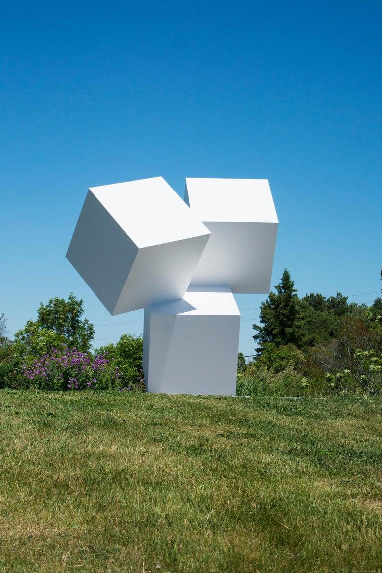 Chute des Cubes 3/10 - geometric, aluminum, white, large outdoor sculpture - Contemporary Sculpture by Marc Plamondon