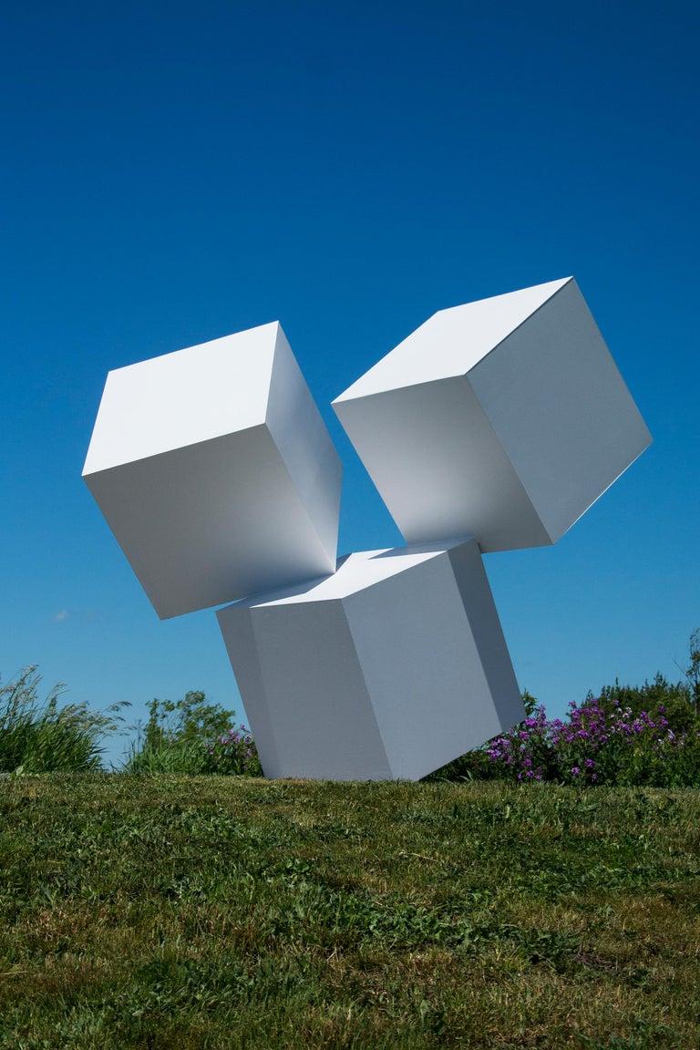Chute des Cubes 3/10 - geometric, aluminum, white, large outdoor sculpture - Blue Abstract Sculpture by Marc Plamondon