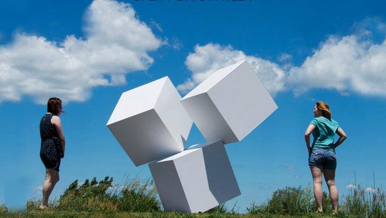 Chute des Cubes 3/10 - geometric, aluminum, white, large outdoor sculpture For Sale 1