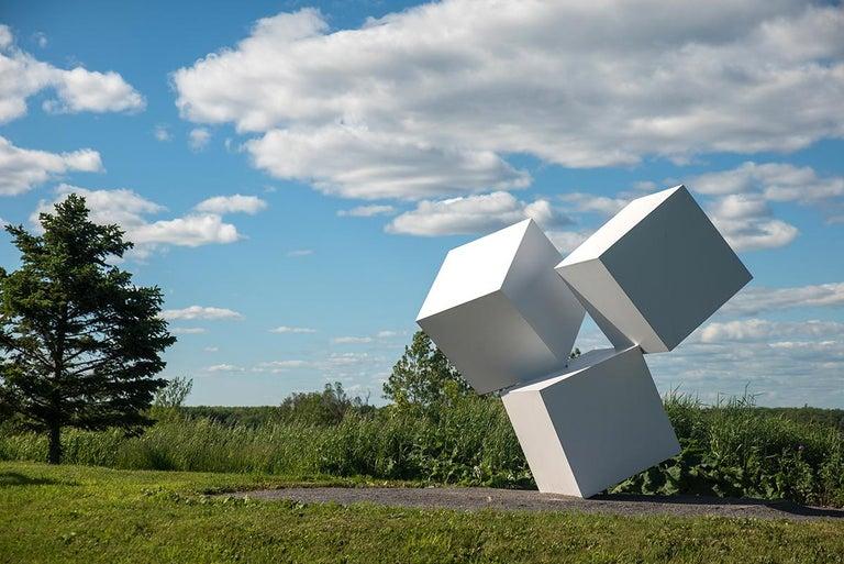 Chute des Cubes 3/10 - geometric, aluminum, white, large outdoor sculpture For Sale 2