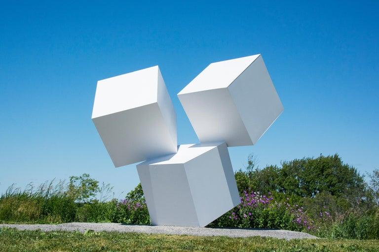 Marc Plamondon Abstract Sculpture - Chute des Cubes 3/10 - geometric, aluminum, white, large outdoor sculpture