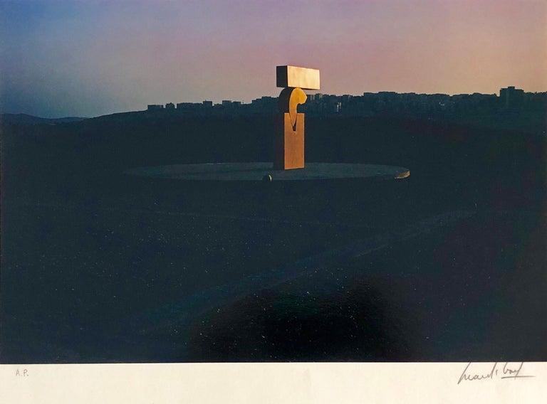 Vintage Color Photograph Kadishman Sculpture Jerusalem Museum Marc Riboud Photo - Black Landscape Photograph by Marc Riboud
