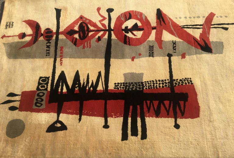 Mid-Century Modern Marc Saint Saens Midcentury Rug or Tapestry with Original Stencil-Pochoir, 1960 For Sale