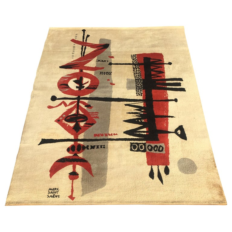 Marc Saint Saens Midcentury Rug or Tapestry with Original Stencil-Pochoir, 1960 For Sale